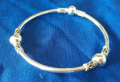 Genuine 100% Real 925 Sterling Silver Handcrafted Bangle Bali Style  New 1K242A