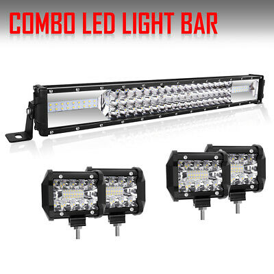 """22Inch + 4""""  Spot Pods LED Light Bar Combo CREE Offroad Driving Ford VS 32""""/52"""""""