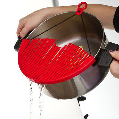 24cm Pot & Pan Strainer with Rim-Top Expansion, Red Colander Plastic Sieve