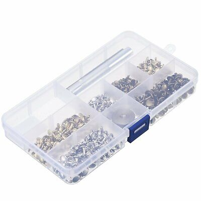 10mm X 100pcs Double Cap Brass Rivets Snap Fasteners 3pcs Hand Fixing Tool Kit