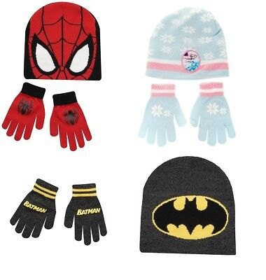 Spiderman Batman Frozen Hat & Gloves Kids 5-10 Years Winter Warm Set