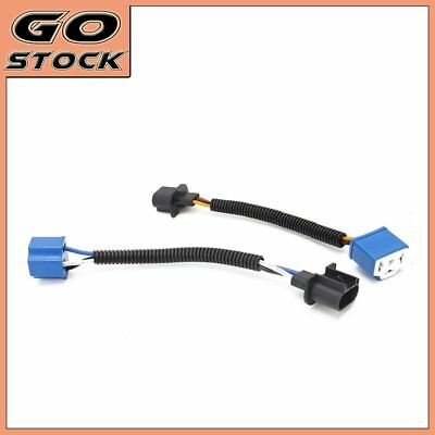 """2PCS 7"""" Headlight H13-to-H4 Adapter Conversion Wiring Plug For Jeep Wrangler"""