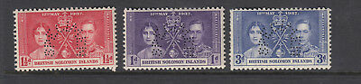 BRITISH SOLOMON IS.1937 CORONATION-Perf Specimen -Sg57-59s - Unmounted mint
