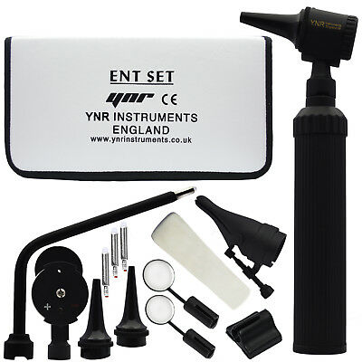 YNR Black ENT Otoscope Ophthalmoscope Opthalmoscope Nasal Larynx Diagnostic Set