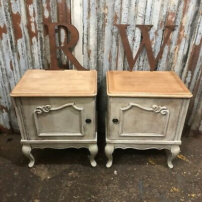 Beautiful Pair Of Vintage French Bedside Cupboards Cabinets Painted Shabby Chic