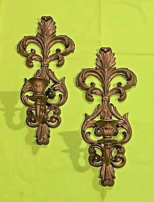 Vintage Wall Sconce Pair BURWOOD Ornate Gold Candle Holders Vintage Wall Decor.