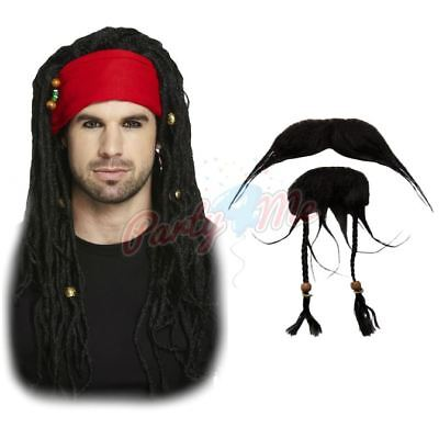 Mens Adult Pirate Wig Facial Hair Fancy Dress Set Caribbean Pirate Jack Sparrow