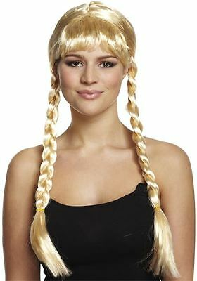 Adult Blonde Long Plait Bavarian Beauty Wig New Fancy Dress Pigtail Oktoberfest