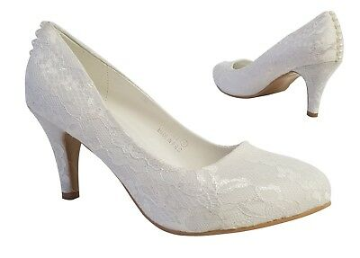 Ladies Ivory Lace Embellished Pearl Detail Low Heel Court Shoes Wedding Size 3-8