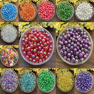 NEW 6mm 100pcs Acrylic Round Pearl Spacer Loose bright Beads Jewelry Making