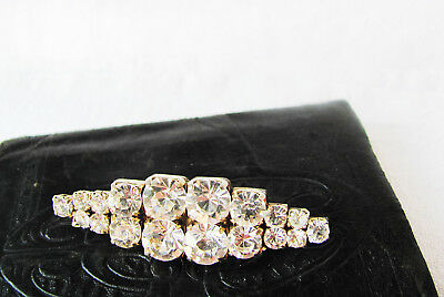 Clear Rhinestone Vintage Brooch HUGE Stones Brilliant SPARKLE 2 Inch LONG