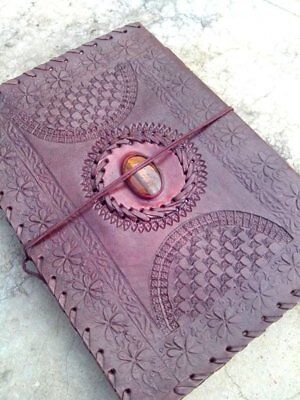 Vintage Handmade Leather Journal Tiger Eye Stone Brown Sketchbook Notebook 10X7