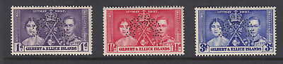 Gilbert & Ellice Is 1937 Coronation Perf SPECIMEN set SG40-42s-Unmounted mint