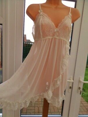 X12 Jonquil In Bloom Sheer White Chiffon Lace Babydoll Nightie 10 12 Nwot