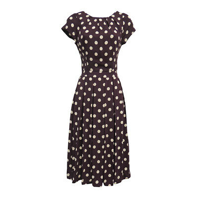 New Plum Polka Dot WWII 1930's/40's Vtg style Land Girl Swing Tea Dress