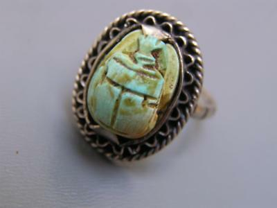 Vintage Art Deco Egyptian Revival Sterling Silver Carved Scarab Ring