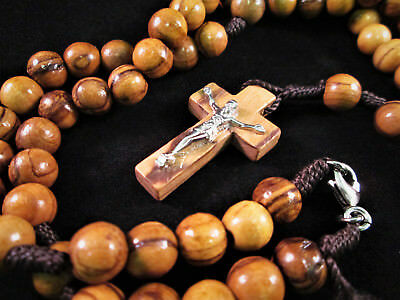 Handmade Bethlehem Olive Wood Bead Rosary Rope Necklace Pewter Crucifix Cross