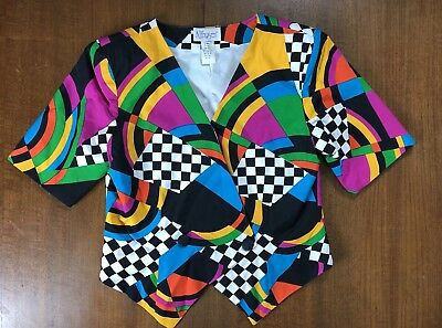 Vintage 80s 90s Womens Jacket Bright Colors Retro Short Sleeved Art