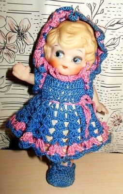 "Vintage Porcelain BISQUE FLAPPER GIRL DOLL 6""  FROZEN Charlotte Made in Japan"