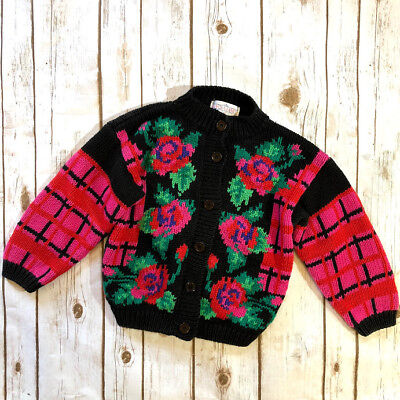Vtg Lydia Jane Chunky Knit Rose Cardigan Easter Floral Sweater Girl's Size M/5