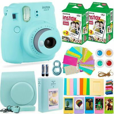 FujiFilm Instax Mini 9 Instant Camera + 40 Fuji Film + Bundle/Kit. Ice Blue!!