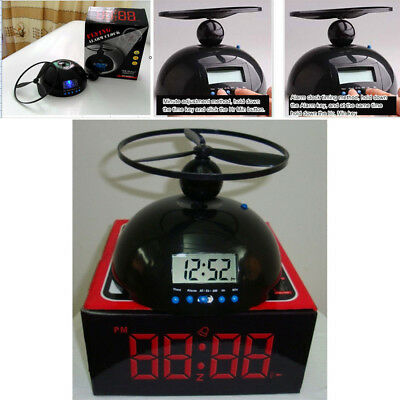 Crazy Loud Annoying Alarm Clock Flying Helicopter Digital LCD Gift Toys Black