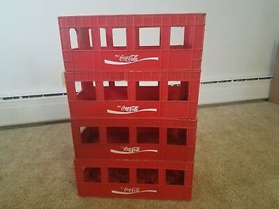 Vintage Plastic Coca Cola Crates (4) Coke Bottle Crate Garage Tool Storage Cool