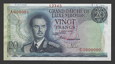 Luxembourg 20 Francs ND 1966 P54s Specimen About Uncirculated