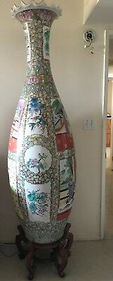 Pair of Chinese Vases, HUGH 72 inches, Beautiful Design, Conversation Pcs, WOW
