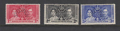 Somaliland 1937 George VI Coronation Perf Specimen set SG90-92s-Unmounted mint