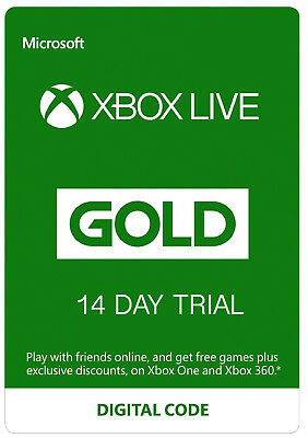 Xbox One 14 Day 2 Weeks Xbox Live Gold Trial Subscription Digital Code Key
