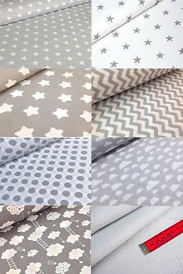 "GREY WHITE 100% COTTON FABRIC 160cm 63"" WIDE STAR DOT CLOUDS CHEVRON BY METRE"
