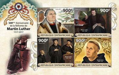 CA17815a IMPERF Central Africa 2017 Martin Luther Reformation 500 Years MNH