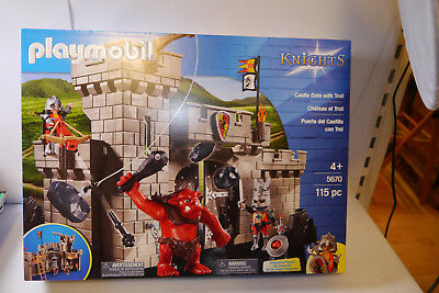 PLAYMOBIL 5670 Knights Castle Gate with Troll   Burg Tor mit Troll NEU