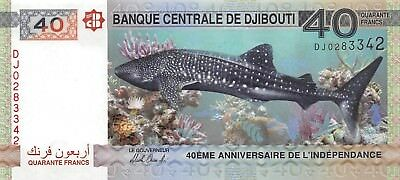 Djibouti 40 Francs 2017 New 40th Ann. Independence Whale Shark Uncirculated Unc