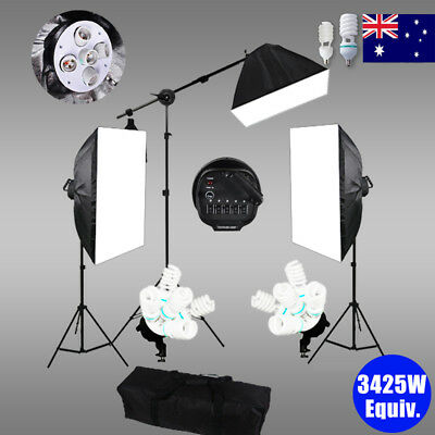 Photography 5 Head Soft Box Light Studio Softbox Continuous Lighting Stand Kit