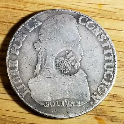 Philippines 1834-37 YII Isabella II on BOLIVIA Silver 8 Soles KM 100 Scarce