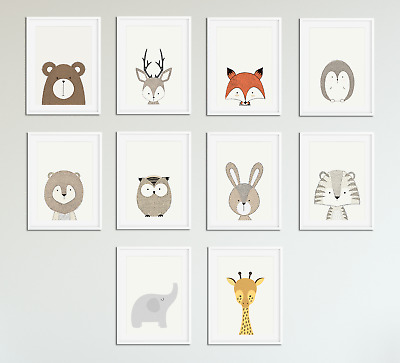 Peekaboo Animal Prints for Nursery Prints Set Baby Christening Bedroom Decor A4