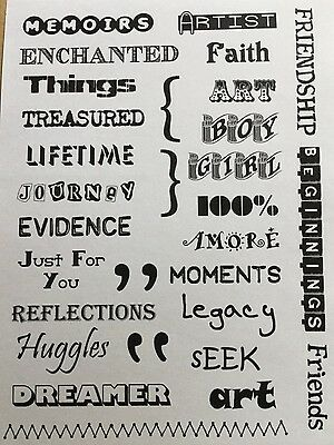 Words For Cards, Scrapbooking Or Journaling. Set Of Unmounted Rubber Stamps.