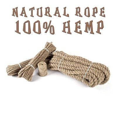 Hemp Rope Natural Untreated 3 Strand Twisted Organic Cord Twine Sash 6 - 24 MM