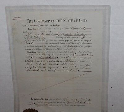 Antique Signed 1876 Rutherford B Hayes Canal Land Deed Governor State of Ohio