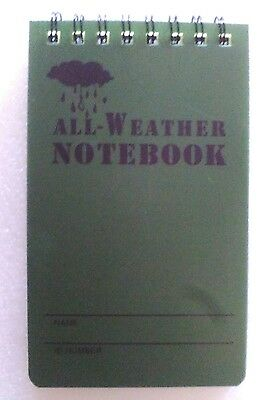 Waterproof Notebook All Weather 50 Page 13Cm X 7.5Cm Cadets / Hikers / Military