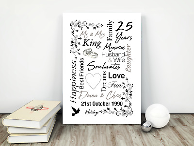 Personalised Anniversary Print / Picture, Wedding Gifts,  Any Year A4 / Present