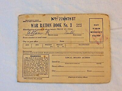 Vtg WW2 1943 USA War Ration Book # 3 Stamps Home Front US Armed Forces Military
