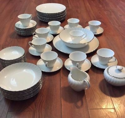 Vtg Norleans Estate pattern Fine China 54 pc set Made in Japan White Platinum