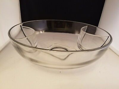 "Large Heavy Clear Glass SERVING BOWL for chips, salad, side dishes 11.25 d 3.5""h"