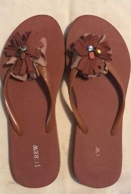 c4a66791fa83 NWT J CREW Brown Flip Flops With Flower Detail Size 7 -  3.99