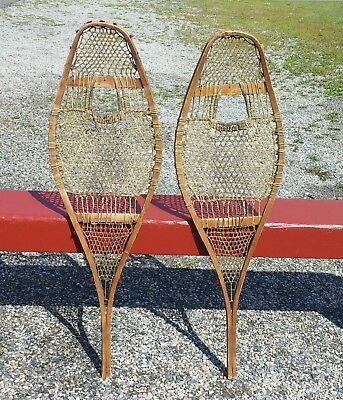 Lovely INDIAN SNOWSHOES 37x11 ANTIQUE w/ TRACES OF OLD POMPOMS SNOW SHOES DECOR