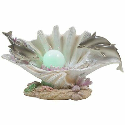 Dolphins Swimming Over Clam Shell with LED Light Color Changing Pearl Statue ...