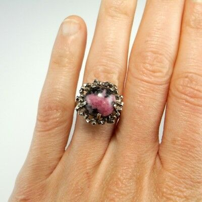 WOW RHODonITE 925 Sterling Silver Ring Unisex Abstract Modernist Geometric 1970s
